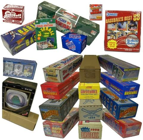 B000CELYT0 Three Assorted Vintage Baseball Card Sets from the 80's & 90's. At least One Set is 25 Years Old! Over 1000 cards!! Sets contain many Rookies & Stars. Includes such manufacturers as Topps, Donruss, Fleer, Score, Upper Deck, plus many more. 610m
