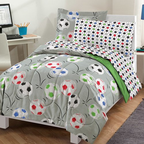 5 Piece Boys Multi Color Soccer Balls Comforter With Sheet Twin Twin Xl Set, Grey Red Black Green All Over Football Pattern Geometric Lattice Design Kids Bedding Adorable Sports Themed Teen Polyester