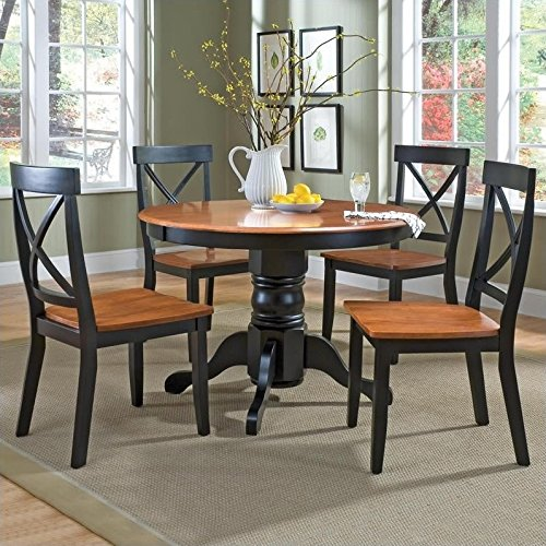 Home Styles 5168-318 5-Piece Dining Set, Black and Cottage Oak Finish (Home Styles Round Pedestal)