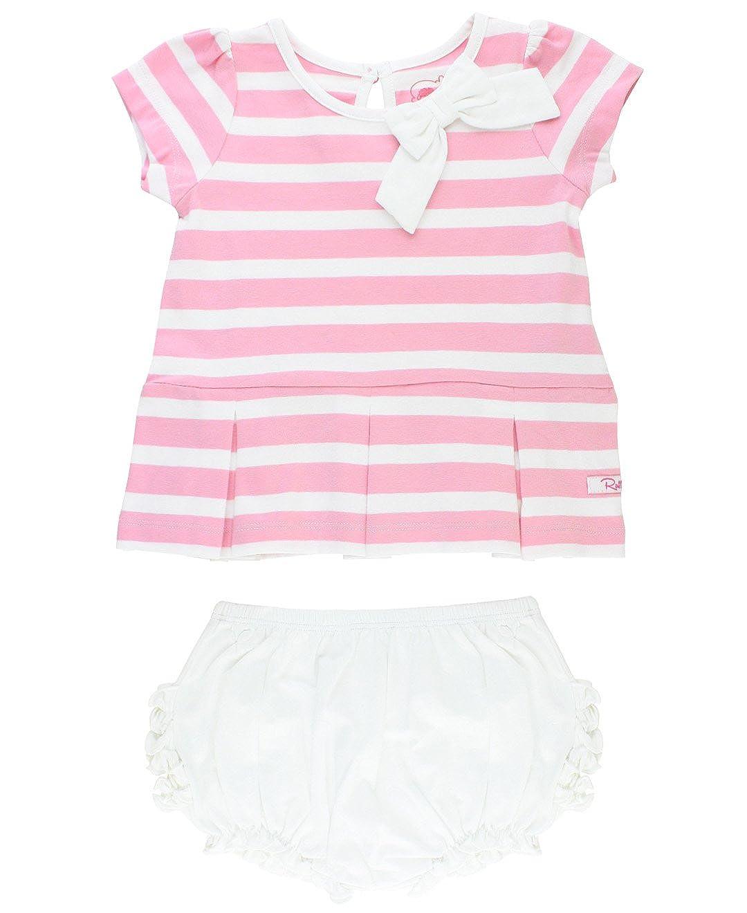 RuffleButts Infant/Toddler Girls 2-Piece Short Sleeve Stripe Peplum & Ruffled Bloomer Set SSKPWXX-BL2P-BABY