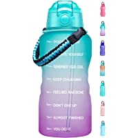 Fidus Large 1 Gallon Motivational Water Bottle with Paracord Handle & Removable Straw - BPA Free Leakproof Water Jug…