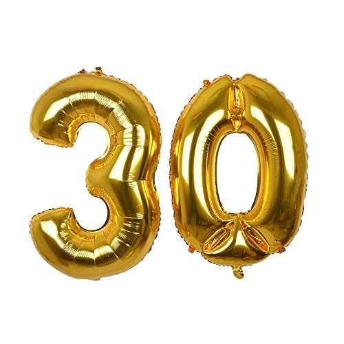 Giant Gold Foil Number 30 Balloon 40''Mylar Foil Number Helium Balloons for 30 Birthday Decorations Supplies-Helium-Floating