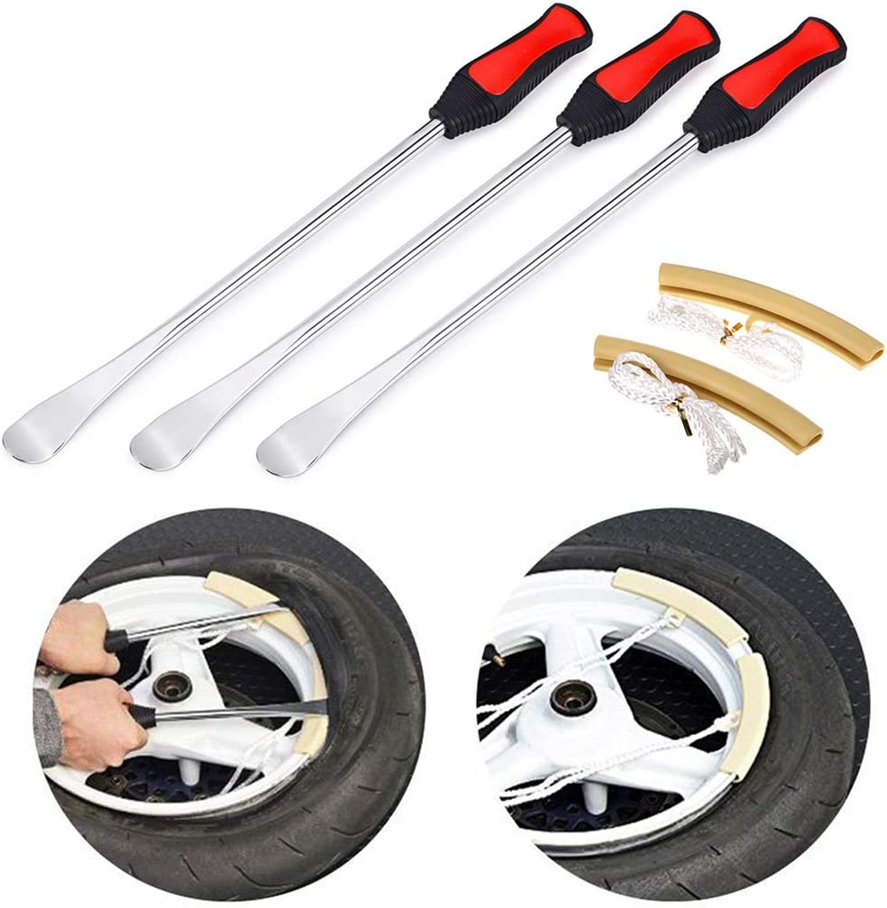 Sumnacon Tire Levers Spoon Set, Heavy Duty Motorcycle Bike Car Tire Irons Tool Kit,3 Pcs Tire Changing Spoon + 2 Pcs Rim Protector: Sports & Outdoors
