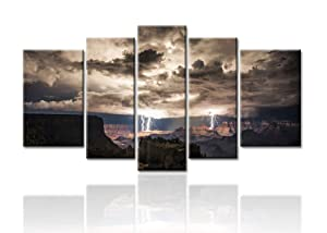 Meigan Art- 5 Piece Wall Art Painting Lightning Strikes In The Grand Canyon Dark Cloud Pictures Prints On Canvas Landscape The Picture Decor Oil For Home Modern Decoration Print For Kids Room