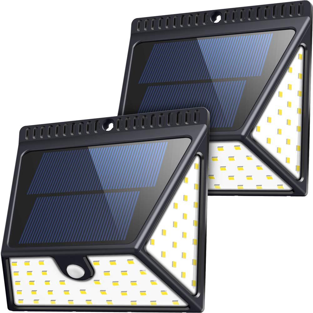 82 LEDs Solar Motion Sensor Lights Outdoor, ZOOKKI Super Bright Waterproof Solar Powered Wall Lights Outside, Wireless Security Lights Night Light for Garden Fence Deck Yard Garage Driveway-2 Pack