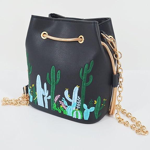 Amazon.com  ZLMBAGUS Women Mini Bucket Bag Cactus Printing Messenger Shoulder  Bag Faux Leather Drawstring Chain Travel Crossbody Purse Black  Home    Kitchen fd285cf818