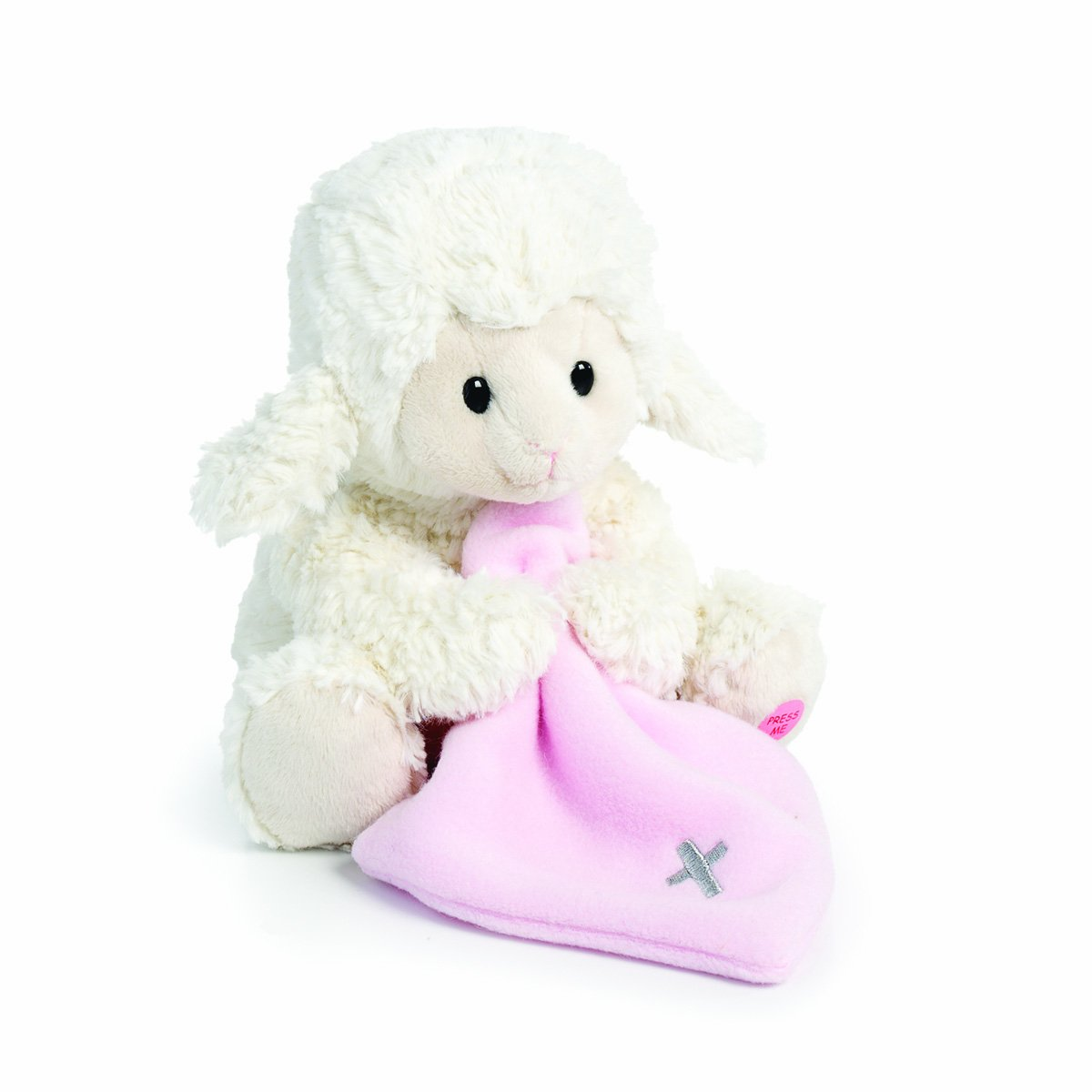 Nat and Jules Jesus Loves Me Lamb With Cross Blanket Children's Plush Stuffed Animal Toy by Demdaco (Image #1)