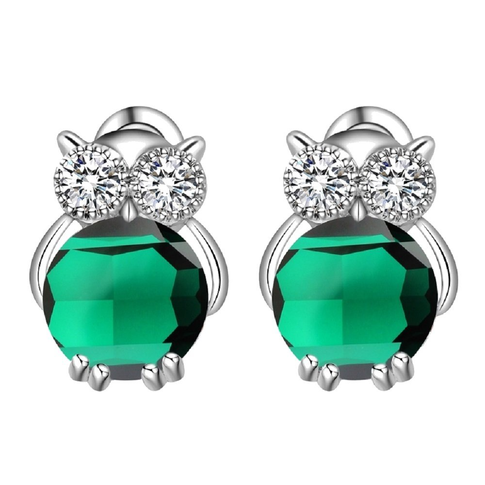 Owls Stud Earrings with Green Simulated Emerald Zirconia Austrian Crystals 18 ct White Gold Plated for Women and Girls Crystalline CR-AZ-0151