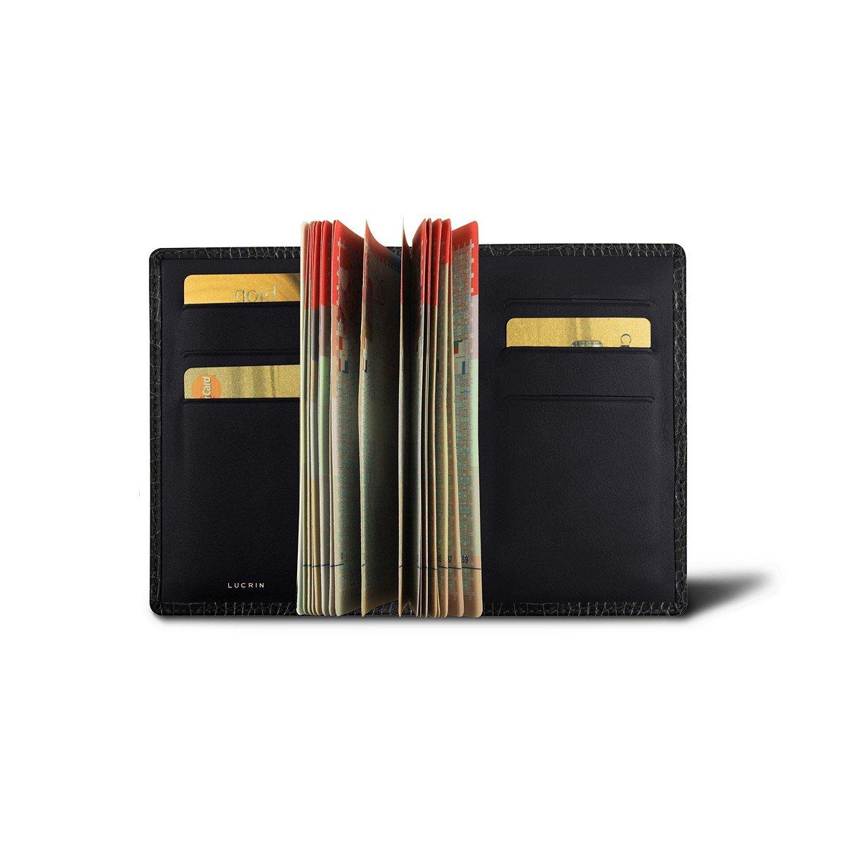 Lucrin - Luxury Passport Holder - Black - Crocodile style calfskin