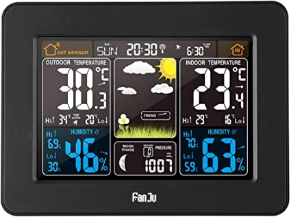 FanJu FJ3365B Wireless Weather Station Color Forecast with Outdoor Sensor