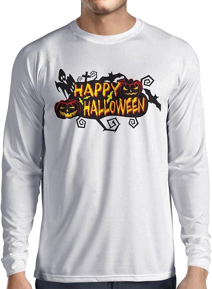 lepni.me Camiseta de Manga Larga para Hombre Búhos, murciélagos, Fantasmas, Calabazas. Trajes espeluznantes de Halloween: Amazon.es: Ropa y accesorios
