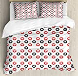 Poker Queen Size Duvet Cover Set by Lunarable, Circular pattern with Playing Card Suits Hearts and Clubs Geometric Inspirations, Decorative 3 Piece Bedding Set with 2 Pillow Shams, Red Black White