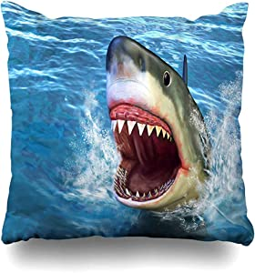 Throw Pillow Cover Decorative Cases Underwater Blue Attack Great White Shark Jumping Out Its Water Open Mouth Digital Bite Sea Design Home Decor Cushion Case Square 18 x 18 Inches Zippered