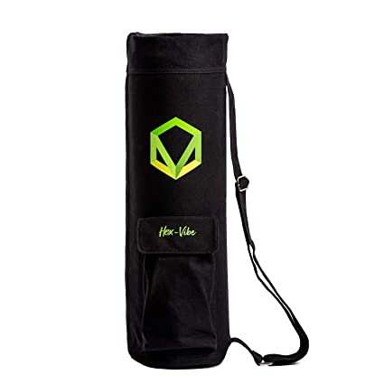 Hex-Vibe Yoga Mat Bag Full-Zip Yoga Mat Carrier Bag with Wide Multi-Functional Storage Pockets + eBook on Getting Started in Yoga
