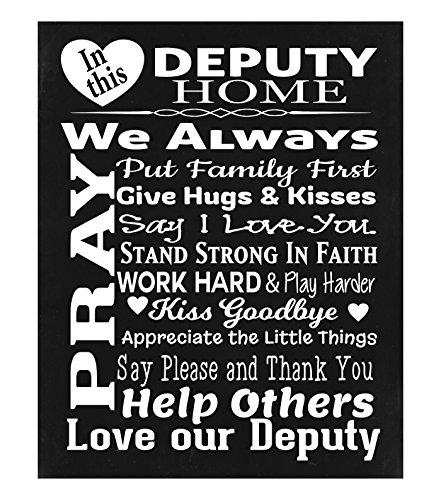 - ♥ Police Officer's DEPUTY Home Chalk Effect Print, Deputy Sign, Sheriff Sign, Police Officer Sign, Wall Decor, Custom Wood Sign - In This Deputy HomePrayer Wall Decor ♥