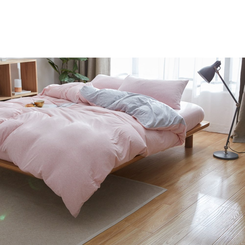 100% cotton Elastic knitted cotton Quilt Cotton lists Single Stripe simple pure color quilt cover-E 220x240cm(87x94inch)