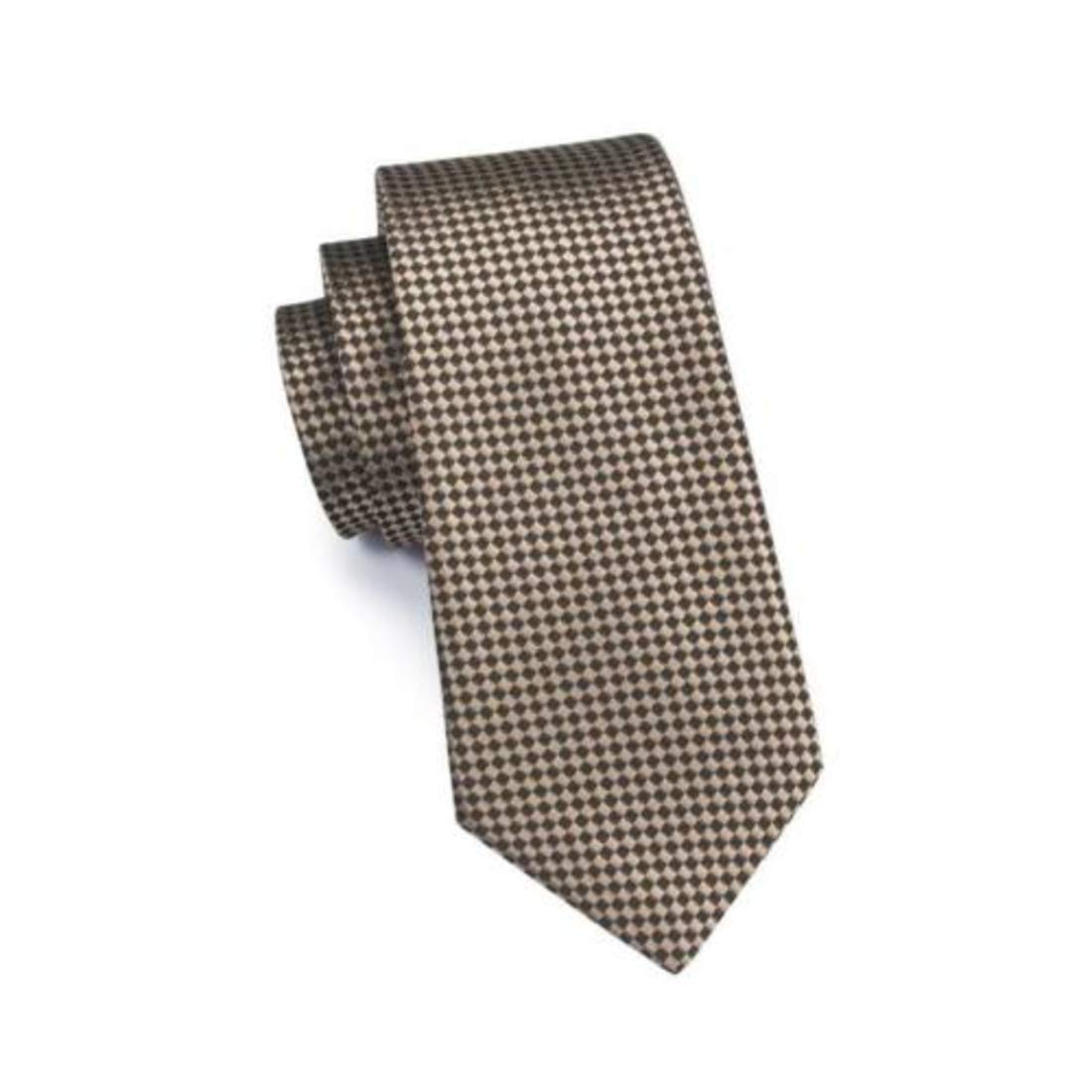 Irvint /& Co Brown Geometric Checks Classic Silk Mens USA Necktie With Pocket Square And Cufflinks Woven Set