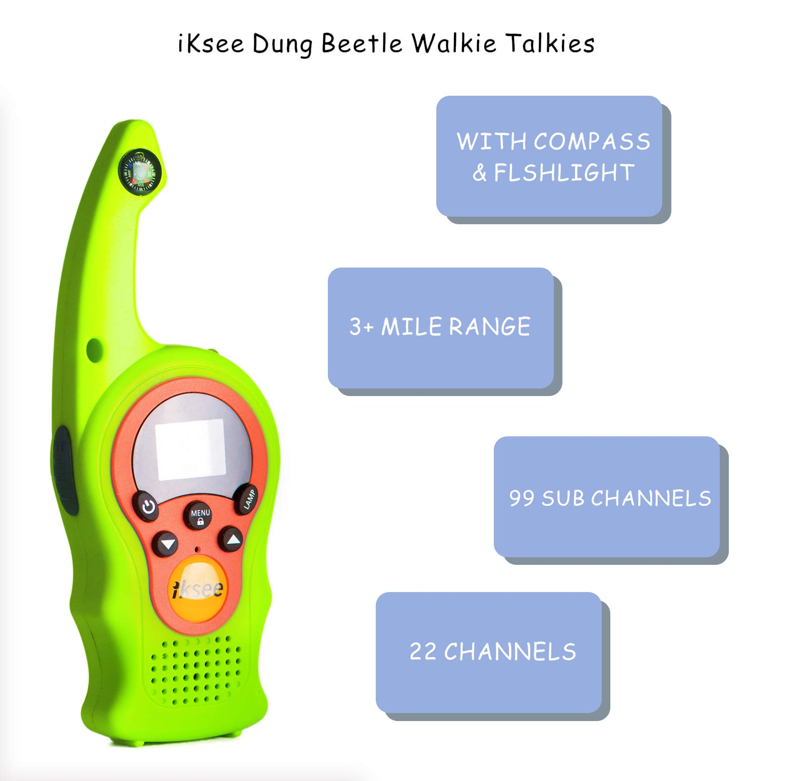 iKsee 2019 Must-Have Dung Beetle Walkie Talkie Set for Adults and Kids with Compass Flashlight, 3+ Mile Long Range Two Way Radios Toys Gifts for 5-12 Boys Girls Awards and Family Games (Green,1 Pair) by iKsee (Image #3)
