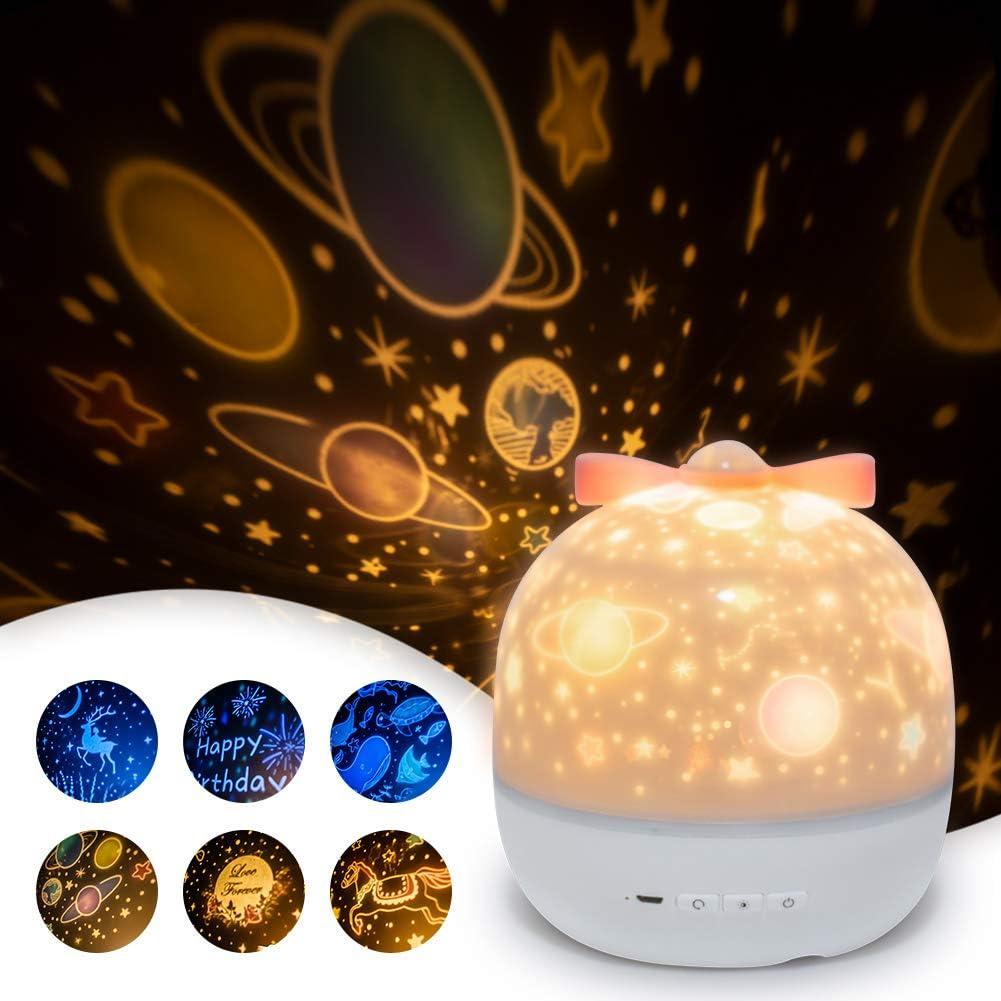 SUVOM Lámpara Proyector Infantil, 6 Modos Iluminación Proyector Dormitorio con Rotación 360 Grados de Estrellas y Cosmos, Luz de Nocturna para Niños y Bebés, Cumpleaños, Vacaciones, Navidad, Halloween