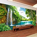 VT BigHome Custom 3D Wall Mural Wallpaper Home Decor Green Mountain Waterfall Nature Landscape 3D Photo Wall Paper Living Room Bedroom
