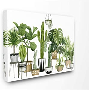 Stupell Industries Boho Plant Scene with Cacti and Succulents in Geometric Pots Watercolor Canvas Wall Art, 16 x 20, Design by Artist Grace Popp