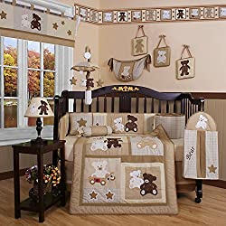 Geenny Boutique Teddy Bear Boy's 13 Piece Baby Crib Bedding Set