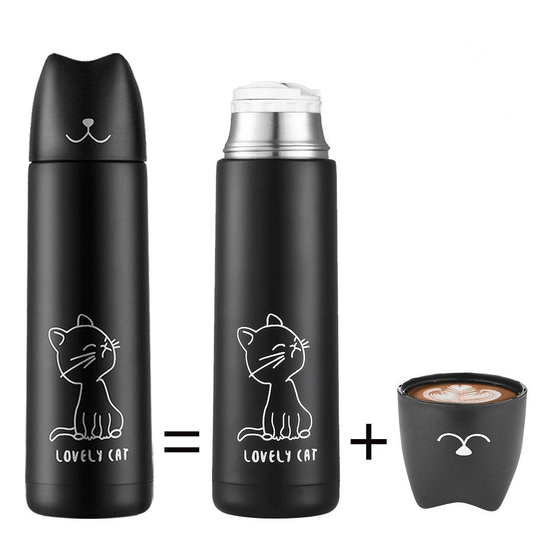 Cute Cat Thermoses Water Bottle - ONEISALL Cat Tumbler Stainless Steel Insulated Thermal Travel Coffee Mug for Kids Adult Cat Lover Gift, 17oz (Black)