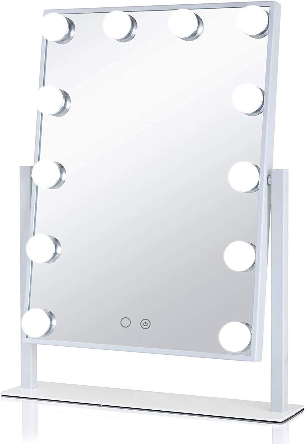 Aimee_JL Hollywood Vanity Mirror, HD Makeup Cosmetic Mirror with Lights Desktop LED Mirror With12 Big Bulbs Touch Screen Adjustbale Brightness The Same Mirror as The ins Blogger