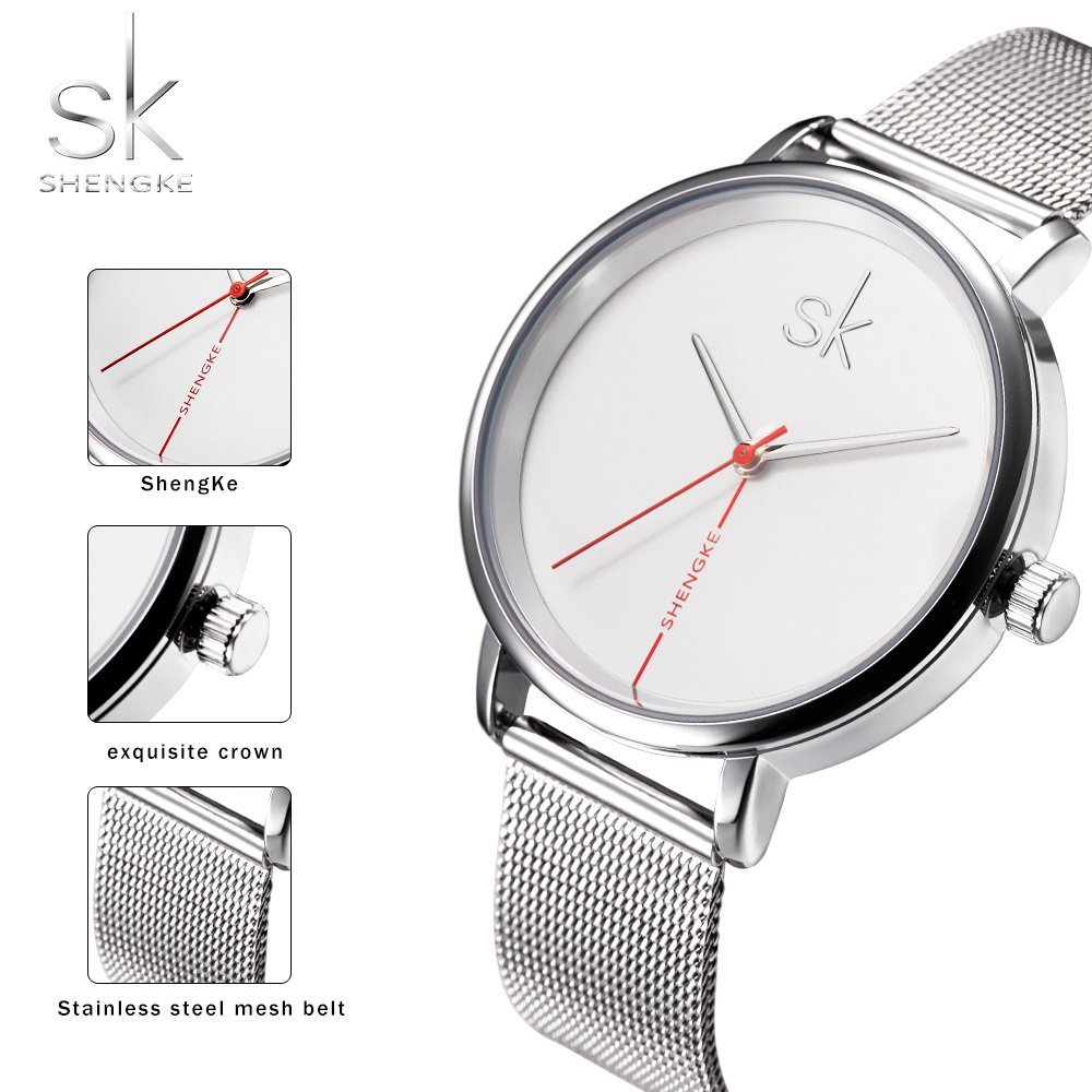 Amazon.com: Shengke Fashion Black Women Watches 2017 Ultra Thin Quartz Watch Woman Elegant Dress Ladies Watch Montre Femme SK (Sliver case&mesh Band): ...