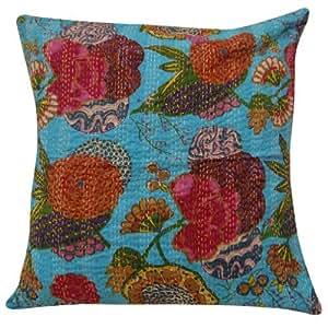 "Azul Cojín Floral Print Funda de almohada de algodón decorativo Kantha puntada Throw India Regalo 24 ""pulgadas"