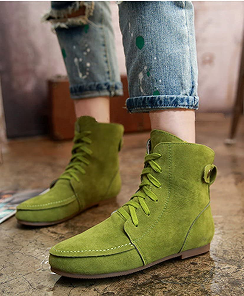 MayBest Women Autumn Casual Fashion Solid Color Flat Shoes Lace Up Ancke Round Toe Flat Leather Martin Boots