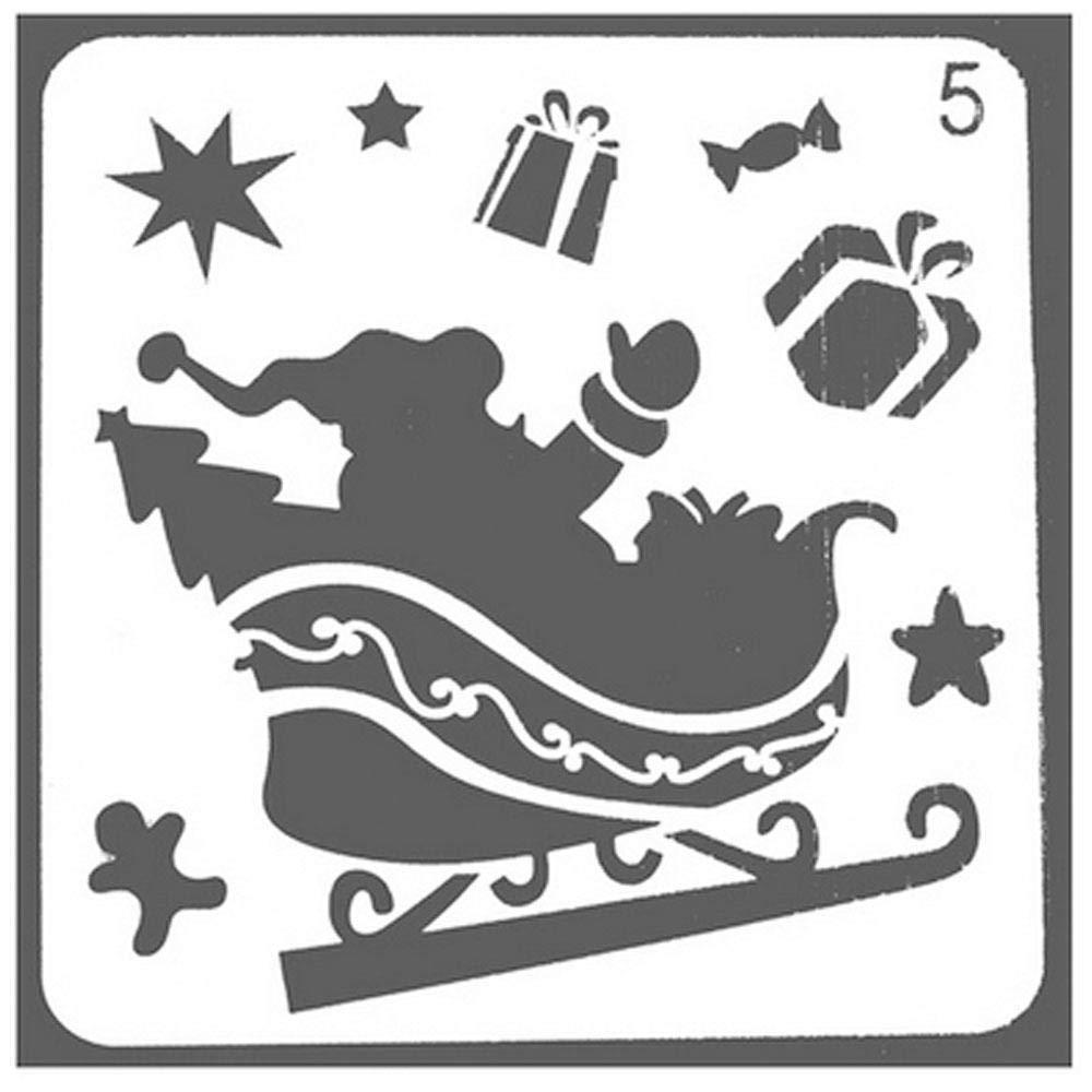 Aolvo Christmas Stencils Xmas 8 Pcs Elk Stencil Merry Small Deer