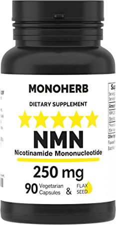 NMN Nicotinamide Mononucleotide - 250 mg Per Capsule - 90 Vegetarian Capsules - Stabilized Form