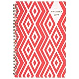 """AT-A-GLANCE Weekly / Monthly Planner / Appointment Book 2017, 4-3/4 x 8"""", Red Diamonds Design, Geos (135R-200)"""