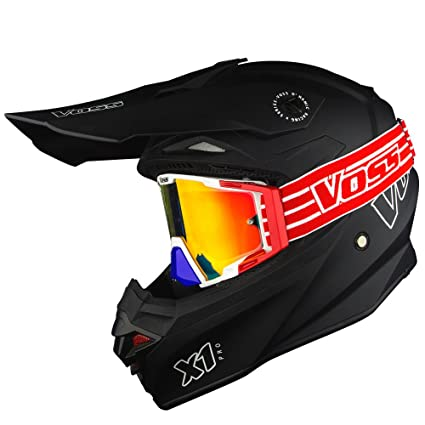 Voss X1 Pro Motocross Helmet with Quick Release and Voss ONE Red and Blue EMerica MX