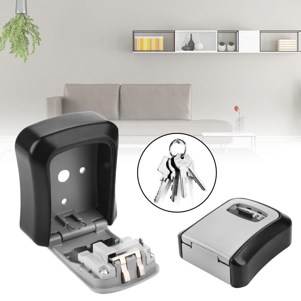 Hanbaili Key Safe Box Wall Mounted 4 Settable Digit Combination Key Storage Lock Box Waterproof Key Keeper Giantree