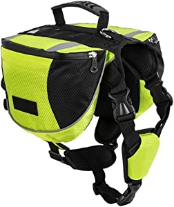 Lifeunion Polyester Dog Saddlebags Pack Hound Travel Camping Hiking Backpack Saddle Bag for Small Medium Large Dogs (Neon Green,L)