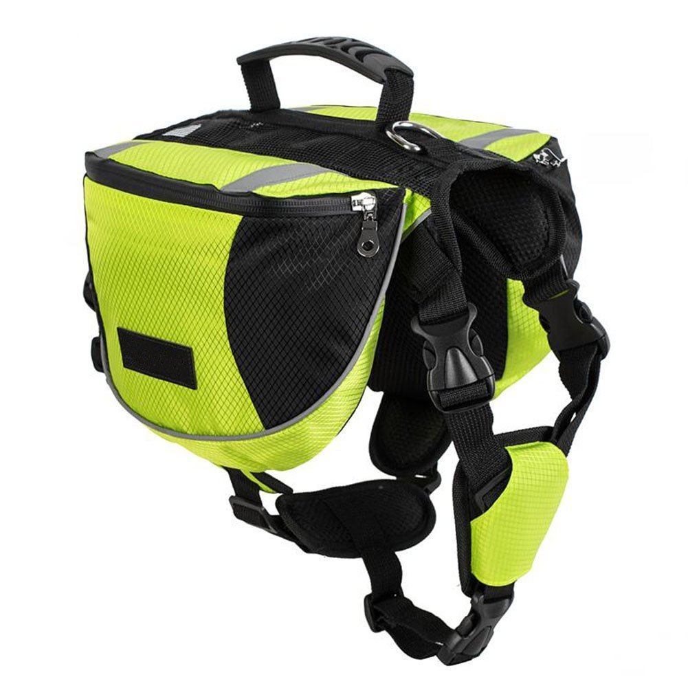 Lifeunion Polyester Dog Saddlebags Pack Hound Travel Camping Hiking Backpack Saddle Bag for Small Medium Large Dogs (Neon Green,M)