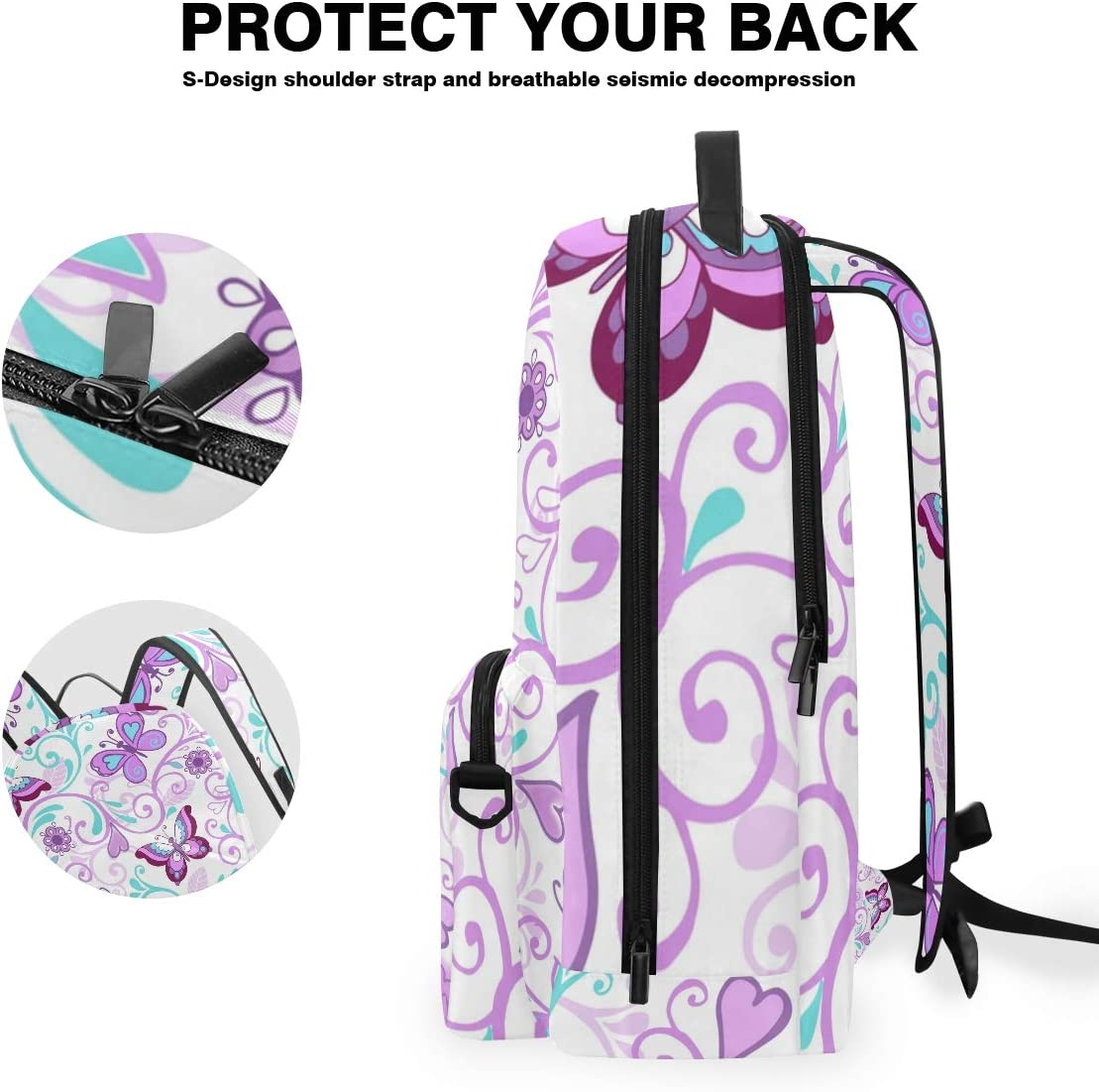 FAJRO Violet Butterfly Ethnic Painting Travel Backpack and Cross Bag