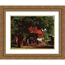 Horse and Buggy Days 2x Matted 24x20 Gold Ornate Framed Art Print by Paul Detlefsen