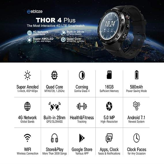 Smartwatches Zeblaze Thor 4 Plus 4G Global Bands GPS/GLONASS Reloj ...