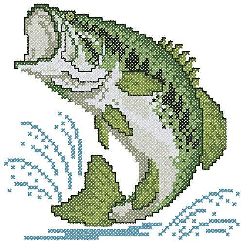 Herrschners® Largemouth Bass Quilt Blocks Stamped Cross-Stitch