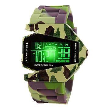 AOLVO Creative Resistente al Agua Hombres Reloj de Pulsera Deportivo Cool Relojes, electrónico Digital con Forma de avión Fashion LED Colorido luz Reloj de ...