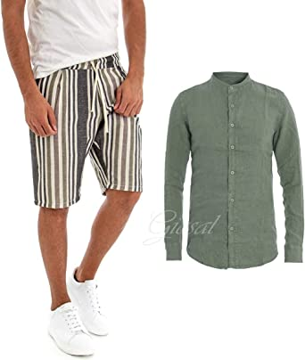 Giosal - Conjunto Outfit de Camisa Verde de Lino de Color Liso, Pantalones para Hombre a Rayas Estilo Casual Verde L: Amazon.es: Ropa y accesorios