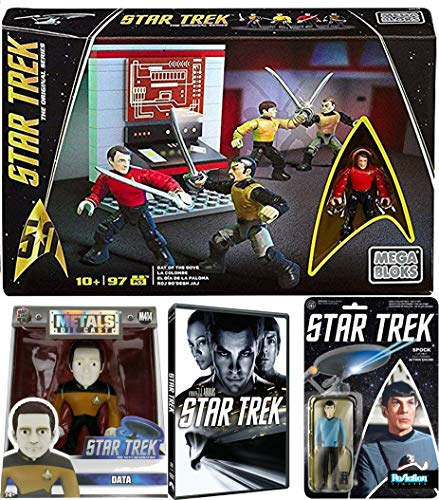 Star Pack Building Toy Set and Action Movie Bundle Day of The Dove Megabloks with Funko Reaction Figure & 4-Inch Next Generations Data Metals M414 Diecast Figure Spock with Star -