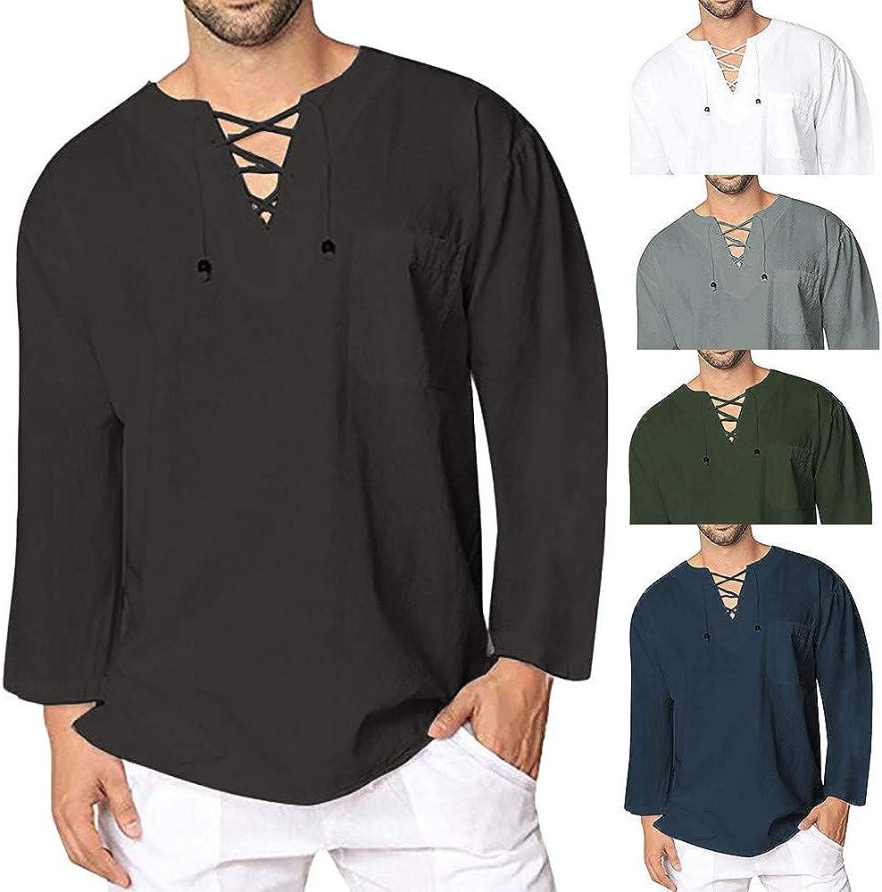 M/änner Freizeithemd Casual Leinen Yoga Shirt Fisherman Sommerhemd Celucke Herren Mittelalter Leinenhemd Sommer Herbst Hemden Langarm Retro-Kragen mit Schn/ürung