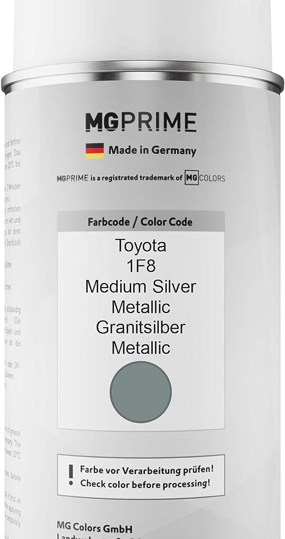 Mg Prime Autolack Sprühdosen Set Für Toyota 1f8 Medium Silver Metallic Granitsilber Metallic Basislack Klarlack Spraydose 400ml Auto