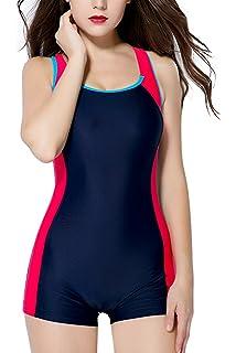 Kester Womens Legsuits One Piece Sports Swimsuit Boyleg Swimwear