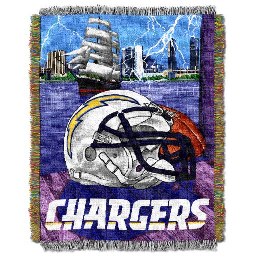 The Northwest Company Officially Licensed NFL Los Angeles Chargers Home Field Advantage Woven Tapestry Throw Blanket, 48