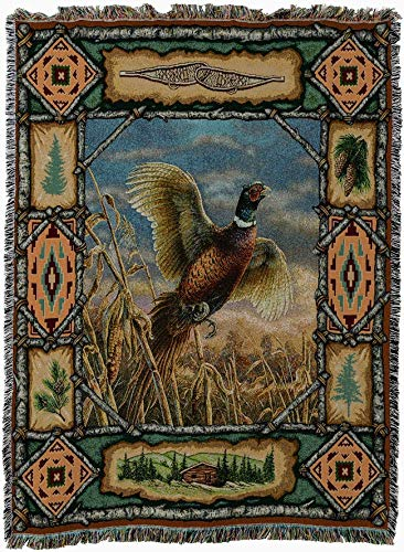 Pure Country Weavers - Pheasant Lodge Cabin Hunting Decor Woven Tapestry Throw Blanket with Fringe Cotton USA Size 72 x 54